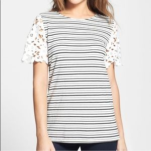 Anthropologie Sunday in Brooklyn Lace Stripe Top